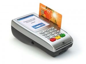 POS terminal with credit card isolated on white. Paying.
